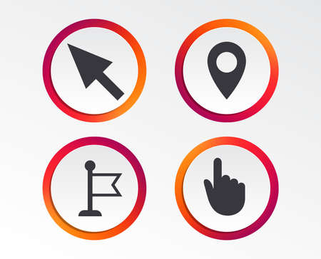 Mouse cursor icon. Hand or Flag pointer symbols. Map location marker sign. Infographic design buttons. Circle templates. Vector