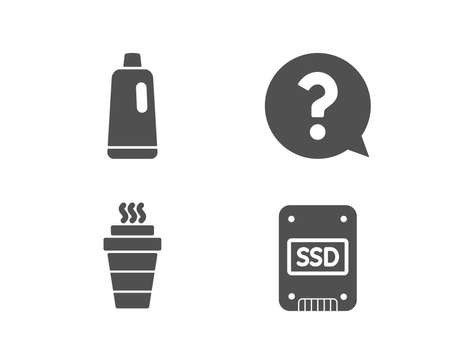 Set of Question mark, Takeaway and Shampoo icons. Ssd sign. Help support, Takeout coffee, Bath cleanser. Solid-state drive.  Quality design elements. Classic style. Vector