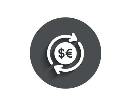 Money exchange simple icon. Banking currency sign. Euro and Dollar Cash transfer symbol. Circle flat button with shadow. Vector