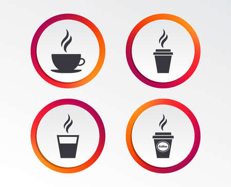 Coffee cup icon. Hot drinks glasses symbols. Take away or take-out tea beverage signs. Infographic design buttons. Circle templates. Vector Illustration