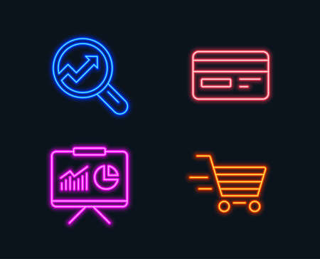 Set of online shopping concept thru cash and Credit card, Presentation and Analytics icons in Glowing graphic designs. Vector illustration Illustration