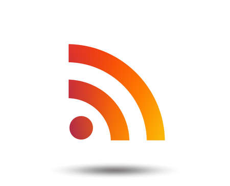 RSS feed symbol in blurred gradient design element, isolated Vivid graphic flat icon Vector