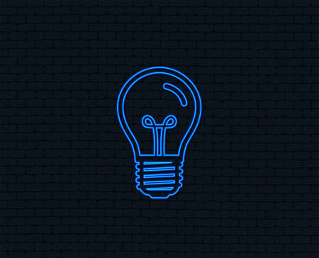 Neon light graphic design of bulb icon in blue Illumination, isolated on black, Vector illustration