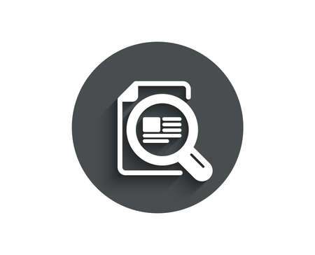 Сopyright sign. with Magnifying glass symbol. Circle flat button with shadow. Vector illustration