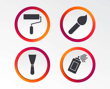 Paint roller, brush icons. Spray can and Spatula signs. Wall repair tool and painting symbol. Infographic design buttons. Circle templates. Vector Illustration