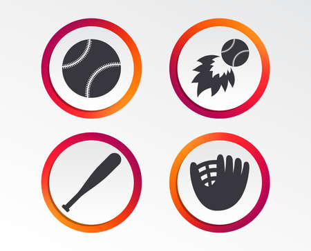 Various ball sports icons. Ball with glove and bat signs. Fireball symbol. Infographic design buttons in Circular templates. Vector Illustration