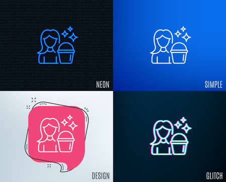 Glitch, Neon effect. Cleaning service line icon. Woman with Bucket symbol. Washing Housekeeping equipment sign. Trendy flat geometric designs. Vector