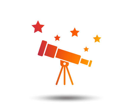 Telescope with stars in Blurred gradient design element. Isolated Vivid graphic flat icon. Vector