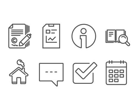 Set of Blog, Report document and Search book icons. Copywriting, Checkbox and Calendar signs. Chat message, Statistics file, Online education. Ð¡opyright signature, Approved tick, Event reminder