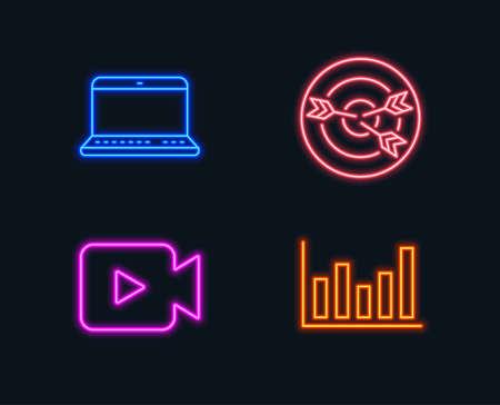 ビデオカメラ、ターゲティング、ノートブックアイコンのセット。縦棒グラフの符号。映画や映画、矢印付きのターゲット、ラップトップコンピュ  イラスト・ベクター素材
