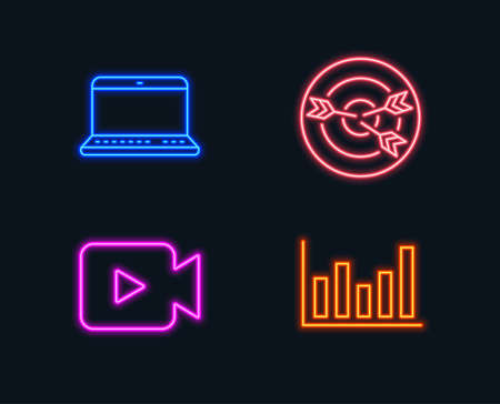 Set of a Video camera, Targeting and Notebook icons. Column chart sign. Movie or cinema, Target with arrows, Laptop computer. Financial graph. Glowing graphic designs. Vector