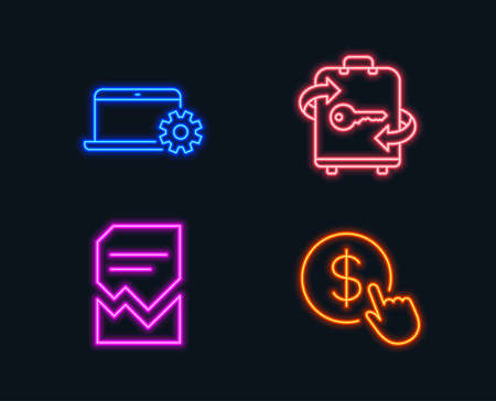 Neon lights. Set of Notebook service, Luggage and Corrupted file icons. Buy currency sign. Computer repair, Baggage locker, Damaged document. Money exchange.  Glowing graphic designs. Vector