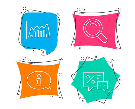 Set of Search, Infographic graph and Information icons. Discounts sign. Magnifying glass, Line diagram, Info center. Best offer.  Flat geometric colored tags. Vivid banners. Trendy graphic design