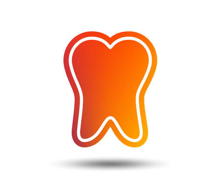 Tooth enamel protection sign icon. Dental care symbol. Healthy teeth. Blurred gradient design element. Vivid graphics flat icon. Vector Illustration