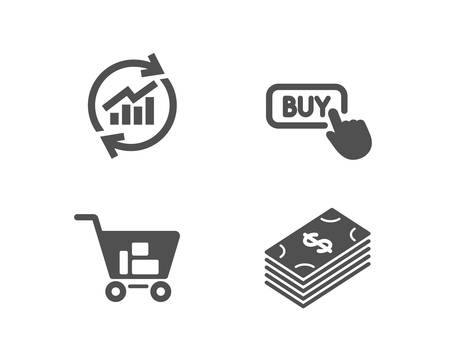 Set of Update data, Internet shopping and Buy button icons. Dollar sign. Sales statistics, Cart with purchases, Online shopping. Usd currency.  Quality design elements. Classic style. Vector Иллюстрация