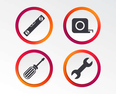 Screwdriver and wrench key tool icons. Bubble level and tape measure roulette sign symbols. Infographic design buttons. Circle templates. Vector