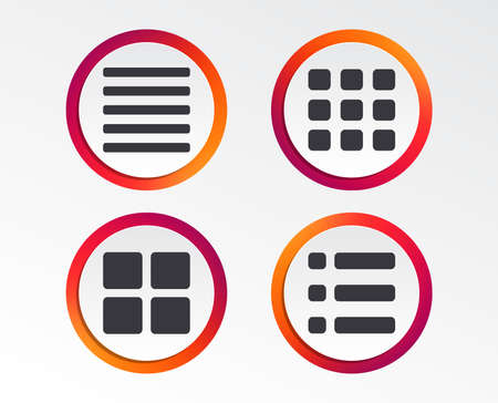 List menu icons. Content view options symbols. Thumbnails grid or Gallery view. Infographic design buttons. Circle templates. Vector