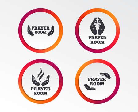 Prayer room icons. Religion priest faith symbols. Pray with hands. Infographic design buttons. Circle templates. Vector Ilustração