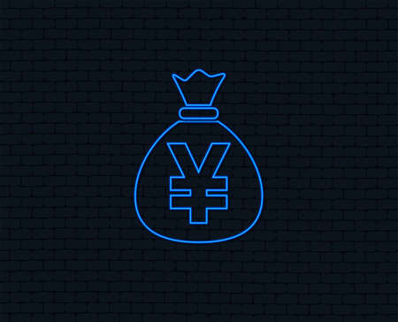 Neon light. Money bag sign icon. Yen JPY currency symbol. Glowing graphic design. Brick wall. Vector 向量圖像