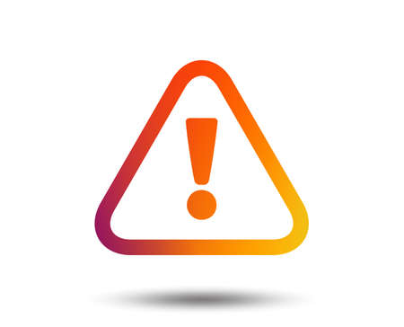 Attention sign icon. Exclamation mark. Hazard warning symbol. Blurred gradient design element. Vivid graphic flat icon. Vector Ilustrace
