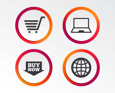 Online shopping icons. Notebook pc, shopping cart, buy now arrow and internet signs. WWW globe symbol. Infographic design buttons. Circle templates. Vector Illustration