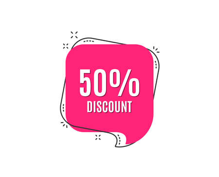 50% Discount. Sale offer price sign. Special offer symbol. Speech bubble tag. Trendy graphic design element. Vector