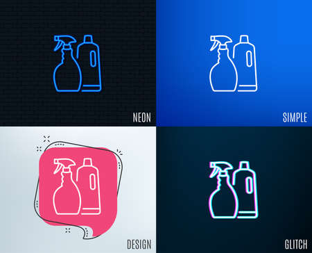 Glitch, Neon effect. Cleaning spray and Shampoo line icon. Washing liquid or Cleanser symbol. Housekeeping equipment sign. Trendy flat geometric designs. Vector Illustration