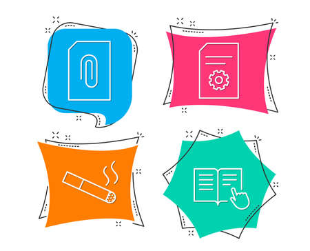 Set of Attachment, Smoking and File settings icons. Read instruction sign. Attach document, Cigarette, File management. Opened book.  Flat geometric colored tags. Vivid banners. Trendy graphic design