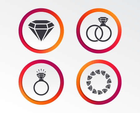 Rings icons. Jewelry with shine diamond signs. Wedding or engagement symbols. Infographic design buttons. Circle templates. Vector