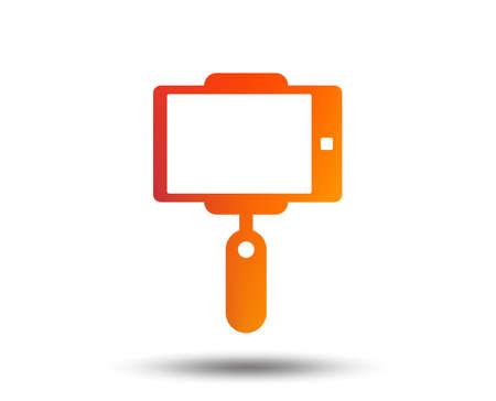 Monopod selfie stick icon. Self portrait tool. Blurred gradient design element. Vivid graphic flat icon. Vector