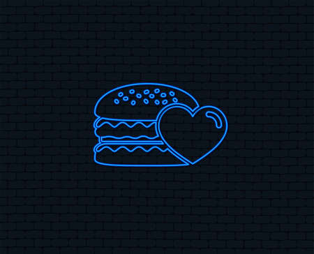 Neon light. Hamburger icon. Burger food symbol. Cheeseburger sandwich sign. Glowing graphic design. Brick wall. Vector