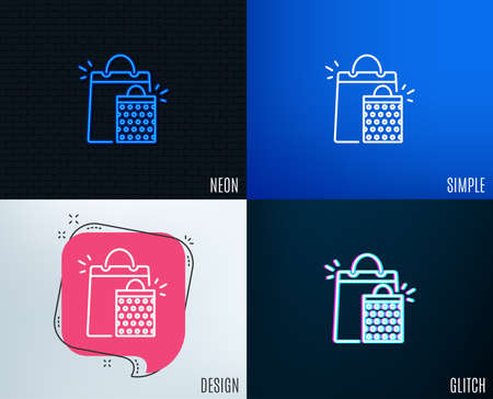 Glitch, Neon effect. Shopping bags line icon. Sale Marketing symbol. Special offer sign. Trendy flat geometric designs. Vector Illustration