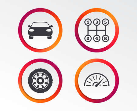 Transport icons. Car tachometer and mechanic transmission symbols. Wheel sign. Infographic design buttons. Circle templates. Vector