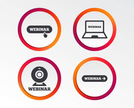 Webinar icons. Web camera and notebook pc signs. Website e-learning or online study symbols. Infographic design buttons. Circle templates. Vector