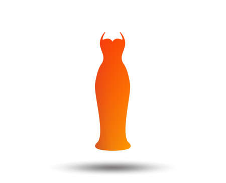 Woman dress sign icon. Elegant bride symbol. Blurred gradient design element. Vivid graphic flat icon. Vector illustration. Illustration