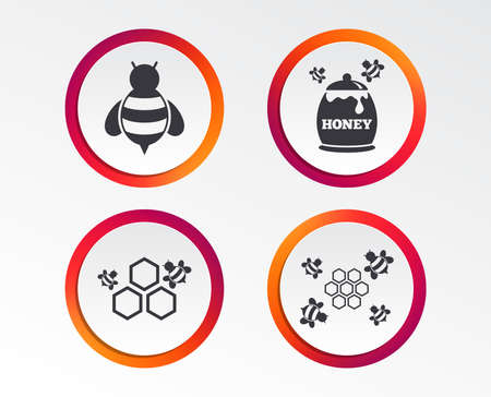 Honey icon. Honeycomb cells with bees symbol. Sweet natural food signs. Infographic design buttons. Circle templates. Vector illustration. Banco de Imagens - 97712877