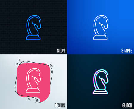 Glitch, Neon effect. Chess Knight line icon. Marketing strategy symbol. Business targeting sign. Trendy flat geometric designs. Vector illustration.
