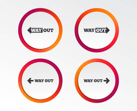 Way out icons. Left and right arrows symbols. Direction signs in the subway. Infographic design buttons. Circle templates. Vector