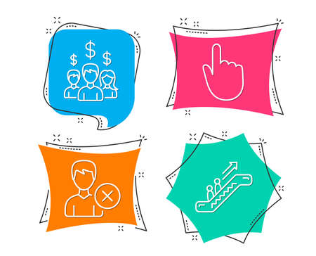 Set of Salary employees, Remove account and Hand click icons. Escalator sign. People earnings, Delete user, Location pointer. Elevator. Flat geometric colored tags. Vivid banners. Vector illustration.