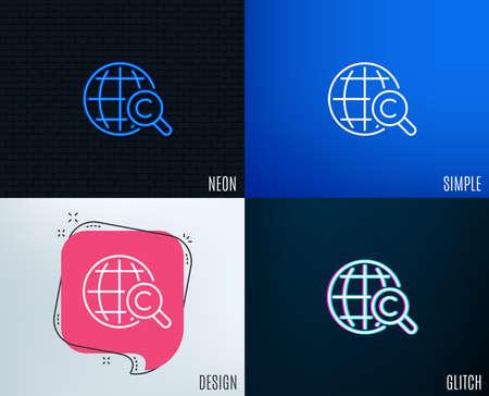 グリッチ、ネオン効果。国際著作権ラインアイコン。コピーライティングサイン。ワールドシンボル。トレンディなフラット幾何学的デザイン。ベ