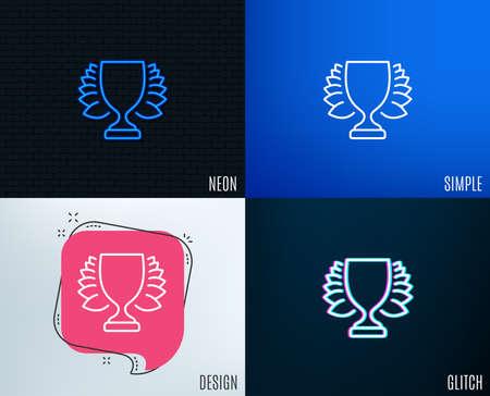 Glitch, Neon effect. Award cup line icon. Winner Trophy with Laurel wreath symbol. Sports achievement sign. Trendy flat geometric designs. Vector illustration.