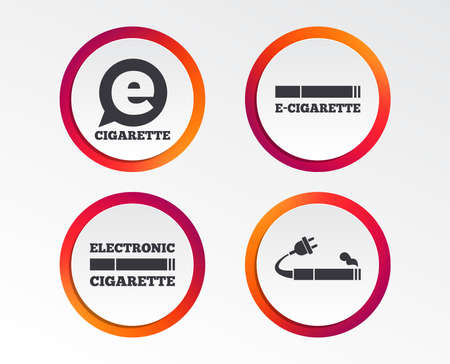E-Cigarette with plug icons. Electronic smoking symbols. Speech bubble sign. Infographic design buttons. Circle templates. Vector illustration. Illustration