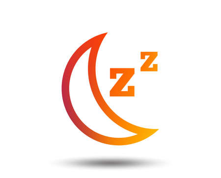 Sleep sign icon. Moon with zzz button. Standby. Blurred gradient design element. Vivid graphic flat icon. Vector Illustration