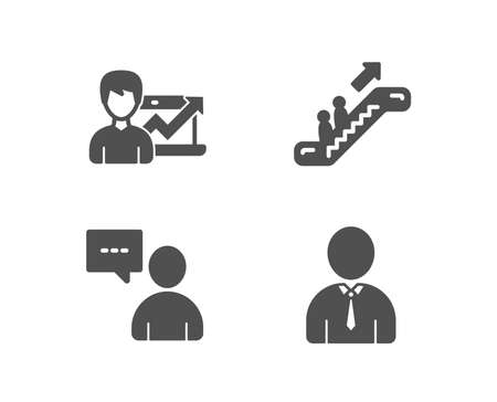 Set of Escalator, Success business and Users chat icons. Human sign. Elevator, Growth chart, Communication concept. Person profile. Quality design elements. Classic style. Vector Imagens - 97726782