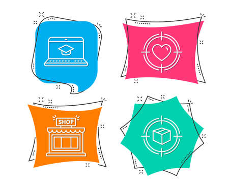 Set of Website education, Shop and Valentine target icons. Parcel tracking sign. Video learning, Store, Heart in aim. Box in target. Flat geometric colored tags. Vivid banners. Trendy graphic design