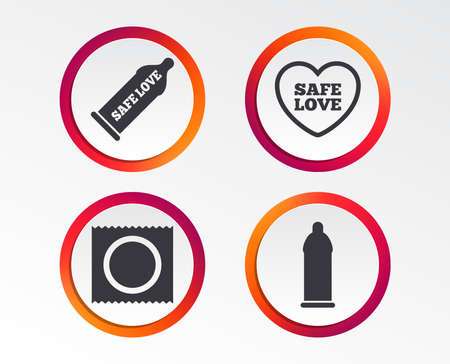 Safe sex love icons. Condom in package symbol. Fertilization or insemination. Heart sign. Infographic design buttons. Circle templates. Vector
