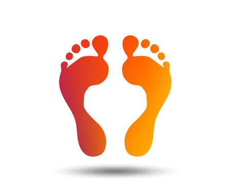 Human footprint sign icon. Barefoot symbol. Foot silhouette. Blurred gradient design element. Vivid graphic flat icon. Vector