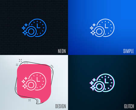 Glitch, Neon effect. Cleaning dishes with Time line icon. Dishwasher sign. Clean tableware sign. Trendy flat geometric designs. Vector