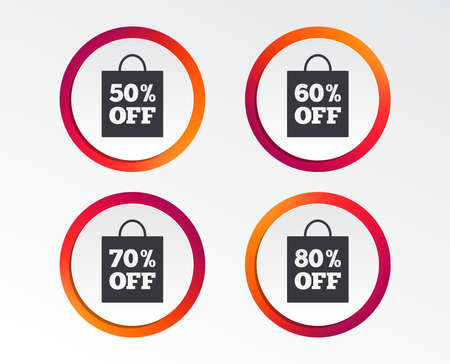 Sale bag tag icons. Discount special offer symbols. 50%, 60%, 70% and 80% percent off signs. Infographic design buttons. Circle templates. Vector
