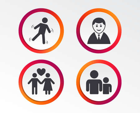 Businessman person icon. Group of people symbol. Man love Woman or Lovers sign. Caution slippery. Infographic design buttons. Circle templates. Vector